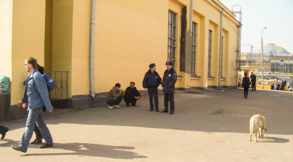 Russian police with some Kavkaz men