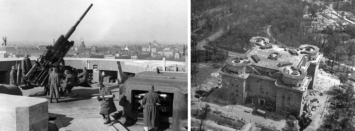 A period photo of a 105mm flak gun on the Zoo flak tower in Berlin and the same flak tower not long after the Battle of Berlin.