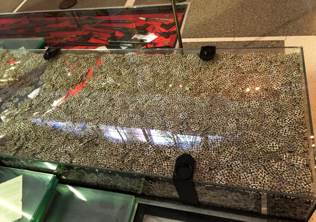 One of 4 glass cases containing looted Iron Crosses from the Battle of Berlin.