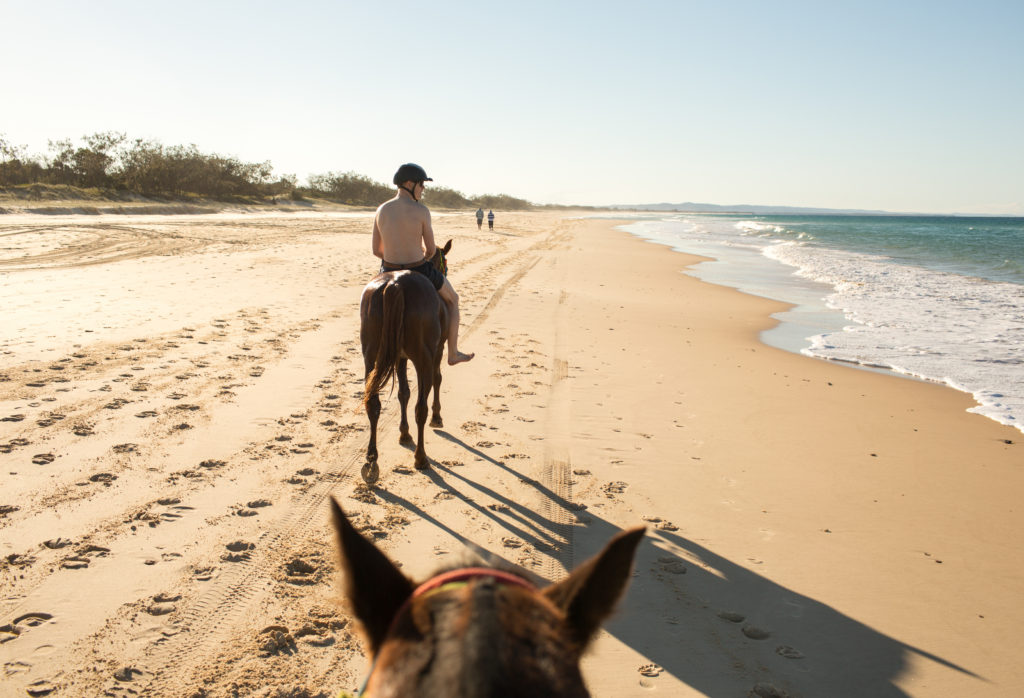 horse riding on rainbow beach